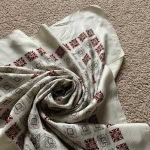 Cream patterned square scarf